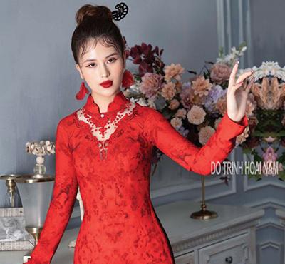 ÁO DÀI MÀU ĐỎ   Áo Dài Đỗ Trịnh Hoài Nam